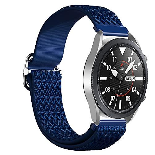 Yikamosi 20MM liberación rápida Correa elástica Compatible con Samsung Galaxy Watch 3 41MM/Galaxy Watch 4/Watch 4 Classic/Galaxy Watch 42MM Elástico Cinturón de muñeca,Azul