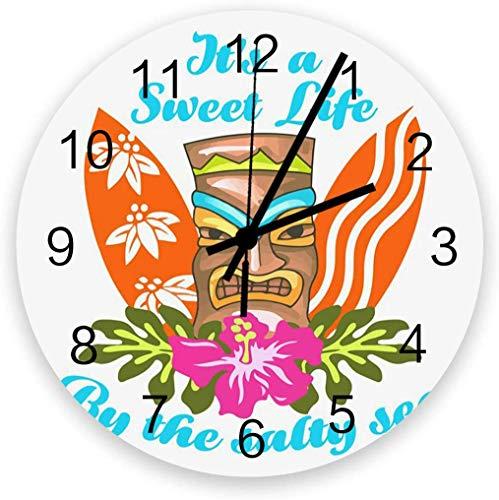 Mesllings Reloj de pared redondo de madera de 30,5 cm, tótem de tabla de surf Hawaii, reloj de pared silencioso, funciona con pilas, fácil de leer, reloj decorativo para sala de estar/dormitorio