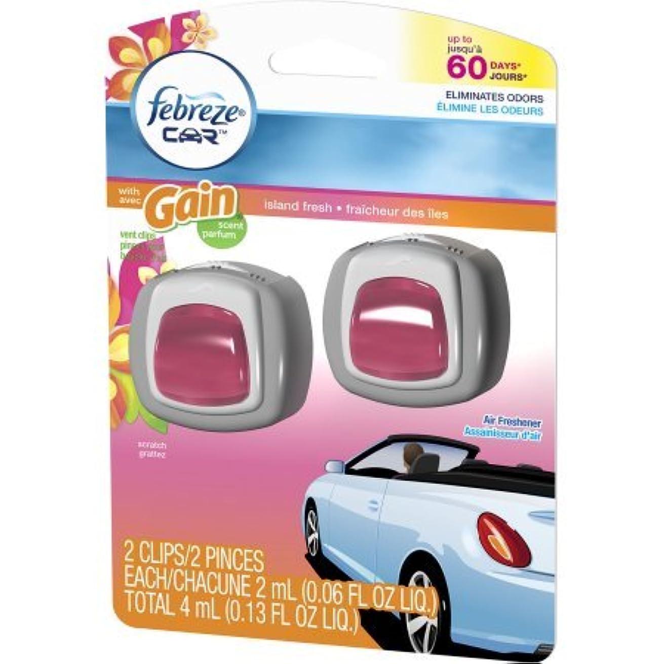 綺麗な甘やかす比較的【Febreze/ファブリーズ】 車用芳香剤 (イージークリップ) 2個入り ゲインアイランドフレッシュ Car Vent Clips Gain Island Fresh Air Freshener, 0.06 oz, 2 count [並行輸入品]