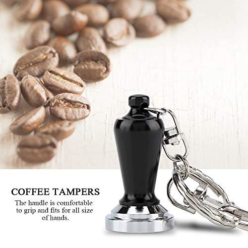 23mm Coffee Tamper,Acogedor Stainless Steel Flat Base Coffee Tamper Pressing Tool Key Ring Decoration (Black)