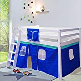 Warmiehomy Mid Sleeper Cabin Bed, Solid Pine Wood Safety Guardrail Kids Loft Bed with Tent, Perfect for Children Teens Bedroom Dorm, White