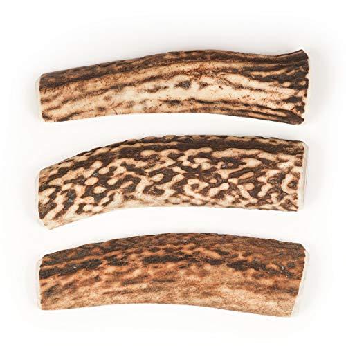 Hirschgeweih   3er Satz   86 g   natürlicher Geweih-Kausnack für Hunde   Zahnpflege & Zahnstein   2X Antler Whole & 1x Split   Fettarmer (Unter 1% Fett) Snack   Mit Mineralien   1 Stück