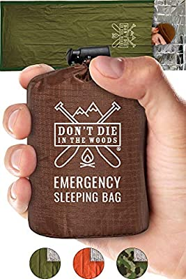 Emergency Sleeping Bag With Hood | Ultralight, Waterproof, Thermal Mylar Sleeping Bag Liner | Survival Bivy Space Blanket Bivey For Hiking, Bushcraft, Earthquake Prep, Surplus Camping Gear Army Green