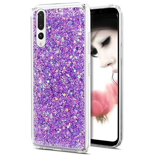 Ysimee Compatible avec Coque Huawei P20 Pro,Paillettes Glitter Briller Étui de Téléphone Ultra Mince Anti Scratch Caoutchouc Bumper Cover Souple Gel Silicone Housse pour Huawei P20 Pro - Bling Violet