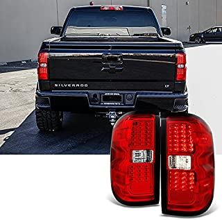 For 2014 2015-2018 Chevy Silverado   GMC Sierra Left + Right Red Replacement LED Tail Lights Tail Lamps Pair