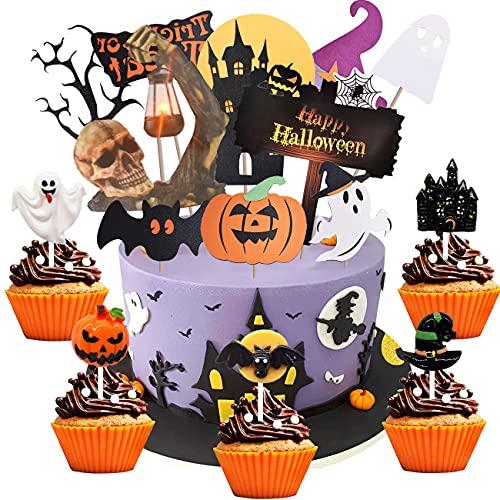 Halloween Cupcake Toppers simyron 15pcs 3D Halloween cake Wrappers Decoración Halloween Spider Pumpkin Ghost Mano Pastel Decoraciones Suministros