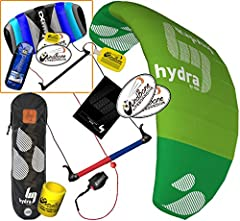 Kitesurfing Control Bar Trainer Bundle - Includes 5 Items (HQ HQ4 Hydra 350 Trainer Kite + CX 1.5M Foil Control Bar Trainer Kite + WindBone Kiteboarding Lifestyle Key-Chain Fob + Kiteboarding WindBone Koozy Cooler + Kiteboarding WindBone Decals HQ/CX...