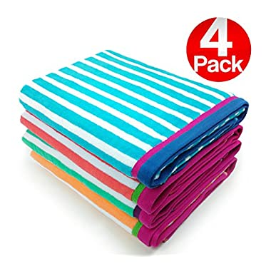 KAUFMAN - Velour Racing Stripe Beach & Pool Towel 4-Pack - 32in x 62in
