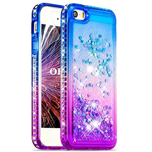 OKZone Funda iPhone 5/5S/SE[con Protector Pantalla], Brillante Gradient Liquida Ballistic Cristal Arenas Transparente Diamond TPU Bumper Silicona Case para Apple iPhone 5/5S/SE (Azul Púrpura)
