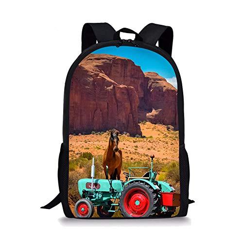 Druck Retro Traktor, Tierpferd, Sand und Kies Schultasche,Grundschule Schultasche, Mittelschule Schultasche, Jugend Laptop Rucksack