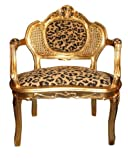 Casa Padrino Baroque Bench Tiger Pattern/Gold Antique Chair