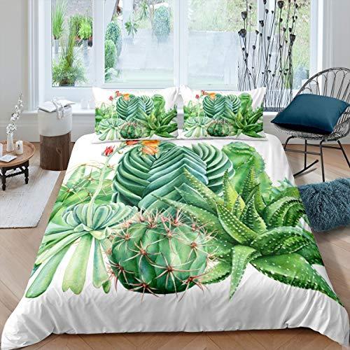 Loussiesd - Juego de ropa de cama con estampado de cactus para niñas y mujeres suculentas con funda de edredón decorativa con patrón botánico de flores verdes para cama individual