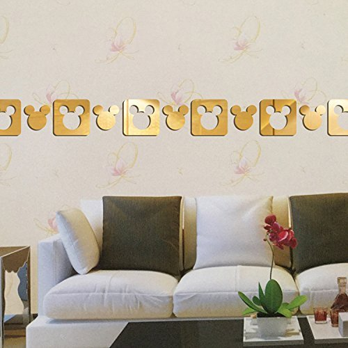 Living Bedroom Dining Room D/écor Home Decoration 15.75*39.37, Gold HEYING Mirror Flower Vase 3D Crystal Acrylic DIY Wall Stickers/& Murals For Entranceway
