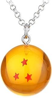 VANVENE Dragon Ball Z Stars Crystal Ball Three Star Pendant Charm Necklace (Necklace-3 Star)