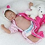Nicery Reborn Baby Doll Renacer Bebé la Muñeca Vinil Simulación Silicona Suave 22 Pulgadas 55cm Boca Natural Niña Niño Juguete vívido Oso el Dormir de Color Rosa Cerrar los Ojos