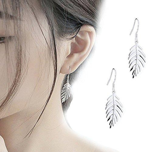 IYOU - Pendientes de plata con forma de hojas, para evitar alergias, accesorios de joyería para mujeres y niñas