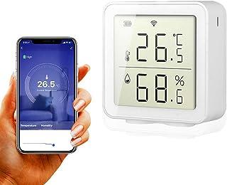 BNTTEAM Smart WiFi Higrómetro de Temperatura Interior al Aire Libre Sensor de Humedad La Alarma Funciona con Alexa Pantall...