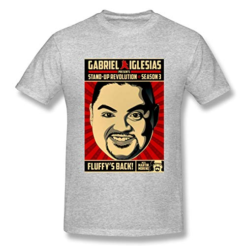 Gabriel Iglesias Stand Up Revolution Season 3 Men's Basic Short Sleeve T-Shirt Fashion Printed Casual Short Sleeve Cotton Gray S