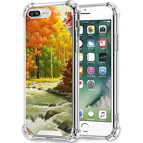 UZEUZA Compatible con iPhone 7/8 Plus Stream Creek patrón funda transparente para niñas y mujeres