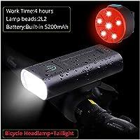 ポータブルライトUSB充電式1コンボリアテールランプを警告2PCSの自転車サイクリングライト3モード主導自転車の安全性 (Color : White add red white) (サイズ : L2 5200mah with Rear)