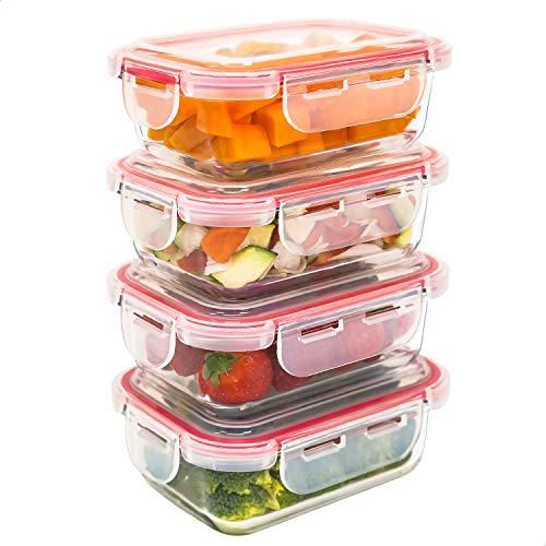 Luxury & Grace 4er Packung Glas Frischhaltedosen 360 ml. Luftdicht. Geeignet für Mikrowelle, Ofen, Gefrierschrank und Spülmaschine. BPA frei.