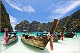 Poster 90 x 60 cm: Long Tail Boot bei Maya Bay auf der