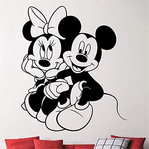 Mickey Mouse Muursticker Mickey Minnie Mouse Love Vinyl muursticker sticker wooncultuur woonkamer afneembare slaapkamer kunst 39.8 x 39.8 cm