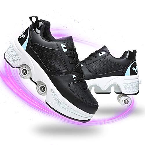 HealHeaters Niña Patines 4 Ruedas Ajustables Multifuncional Deformación Polea Zapatos Invisible Automático Caminando Zapatos para Adulto Deportes Al Aire Libre,Black+Blue,41