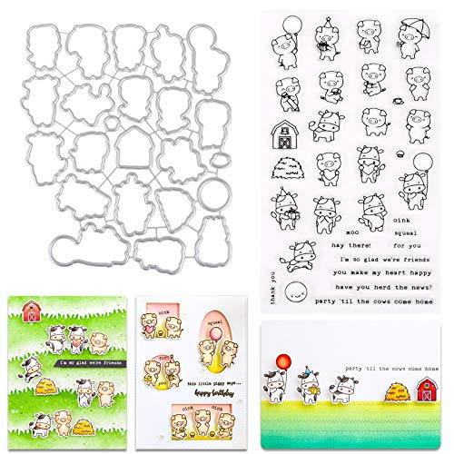 37YIMU 2 Pack Cutting Dies Clear Stamper Set Metal Cartoon Cows Pigs Cut Die Silicone Stamps DIY Embossing Moulds 3D Stencil Template for Card Making Decoration Scrapbooking for Kids Art Craft Gift