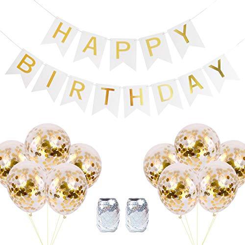 Naomo Geburtstag Girlande, Birthday Girlanden mit 10 Konfetti Luftballons und 2 Luftballons Band (Weiß)