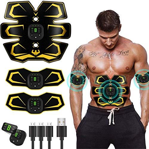 EMS Estimulador Abdominales USB 3 in 1,Electroestimulador Muscular Abdominales,Recargable Estimulación Muscular Masajeador Eléctrico