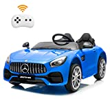 BAHOM 2 Seater 12V Electric Kids Ride On Car Toy Benz Licensed with Remote Control, 3 Speed, MP3, LED Lights, Wheels Suspension (Blue)