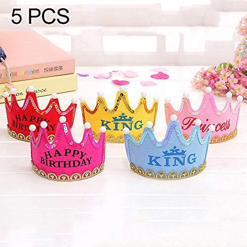 TANG AI MING 5 PCS Exquisite niet-geweven stof Birthday Party Kinderen LED Luminous haarband Decoratieve Hat, Afmetingen: 12 * 10.5cm, willekeurige kleur Delivery Huis