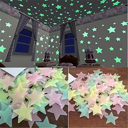 Geen logo YCBHD 2020 3D Ster En Maan Energie Opslag Fluorescerende Glow In De Donkere Lichtgevende Op Muur Stickers Voor Kinderen Kamer Woonkamer Decal Home/Home