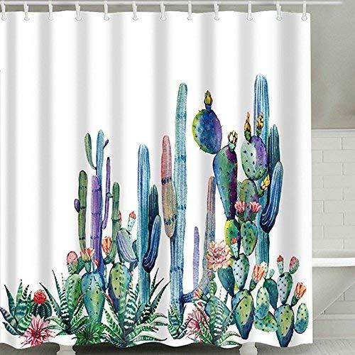 laamei Cortina de Ducha Impermeable Resistente al Moho Cortinas Baño de Tela Poliéster 3D Digital Impresión Floral Planta Cactus Cortina de Bañera de Baño con Anillos(180cmx180cmcm)