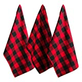DII Cotton Buffalo Check Plaid Dish Towels, (20x30', Set of 3) Monogrammable Oversized Kitchen Towels for Drying, Cleaning, Cooking, & Baking - Red & Black