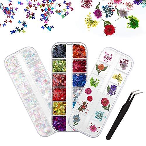 umorismo - Conjunto de flores con purpurina para uñas secas, purpurina de colores