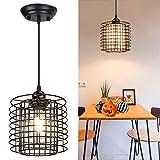 Depuley Metal Cage Pendant Lighting, Induatrial Black Vintage Pendant Light Fixture Adjustable Length Retro Lantern Hanging Lamp Chandelier for Dining Room/Kitchen, E26 Socket