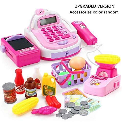Kinderspielzeug Kinder Kasse Spielzeug | Supermarktkasse spielzeug mit Scanner Rollenspiel Spielkasse Elektronische Kasse Inklusive Zubehör für 3 4 5 Jahre Mädchen Junge