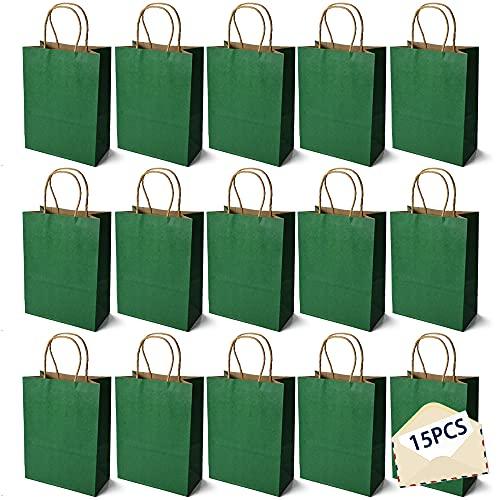 15PCS Color Bolsas Papel Kraft,Bolsas de Papel con Asas de Colores,Bolsa de Regalo Kraft con Asa,Bolsas de Fiesta de Regalo con Asas,Bolsas Papel Regalo (Verde oscuro)