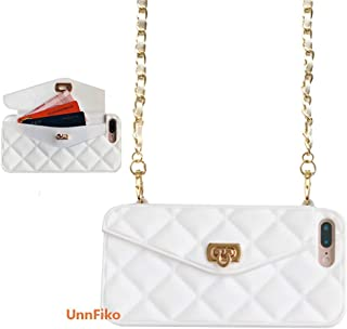 UnnFiko Wallet Case Compatiblewith iPhone 7 Plus/iPhone 8 Plus, Pretty Luxury Bag Design, Purse Flip Card Pouch Cover Soft Silicone Case with Long Shoulder Strap (White, iPhone 7 Plus / 8 Plus)