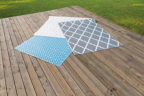 greemotion Outdoor-Teppich Santo aus 100 % Polypropylen, blauer Teppich mit Muster, pflegeleichter Wendeteppich für in- & outdoor, ca. 200 x 150 cm