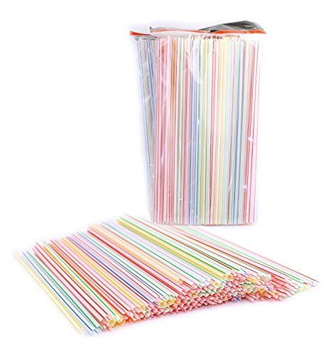 Disposable Plastic Straight Straws, Assorted Colors, Striped 9 Long by CC