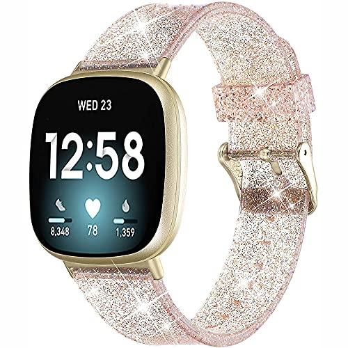 G-RF Bandas De Reloj para Ftibit Versa 3 / Sense Brillo De Silicona Hebilla De Metal De Acero Inoxidable Pulsera (Oro Rosa)