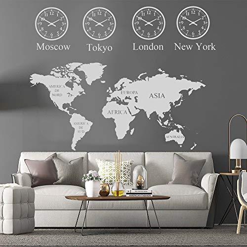Mapa del mundo grande Vinilo Etiqueta de la pared Londres Newyork Tokio Moscú Ciudad Hora para la casa Sala de estar Decoración Dormitorio Decoración Mural 145cmX115cm
