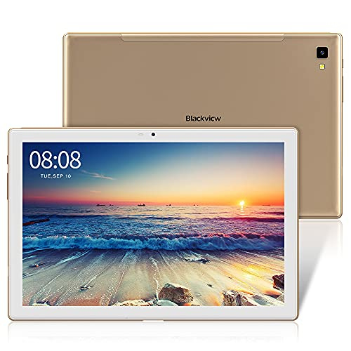 Blackview Tablet 10,1 Zoll, Tab8 Tablet 4GB RAM mit 64GB Speicher, 6.580mAh Akku, 1920x1200 FHD IPS Display Android 10 Octa-Core Prozessor, 13MP+5MP Kamera, GPS, OTG, 4G Dual SIM Tablet PC (Gold)