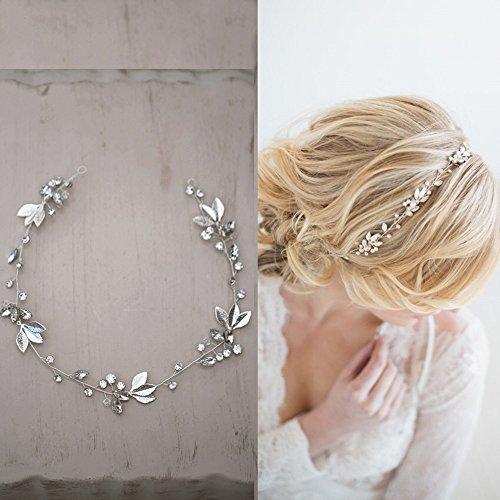 Handgefertigt Braut Zubehör Haarteile 3D Blume Kristalle mit Hand bemalt silber Blättern Haarband dhe05