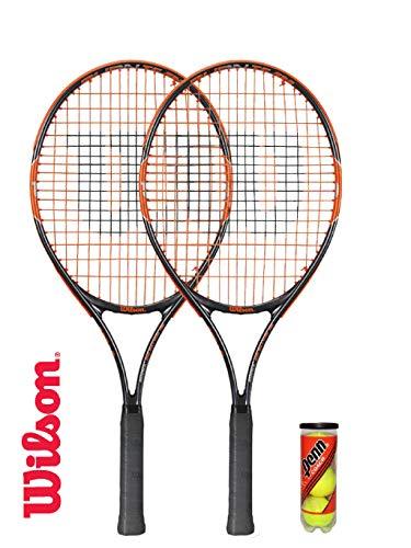 Wilson 2 Raquetas de Tenis Burn de 25 Pulgadas + 3 Pelotas de Tenis (Varias Opciones de Modelo)