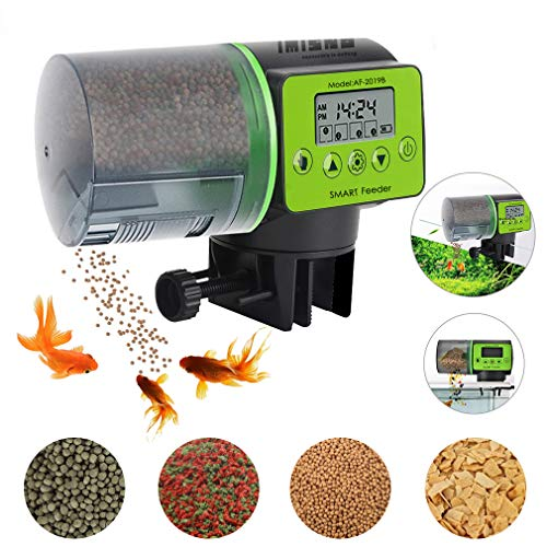 IMISNO 2019 Upgraded Automatic Fish Feeder, Digital Fish Food Dispenser for Aquarium or Fish Tank, Vacation Auto Betta Fish Battery-Operated Feeder