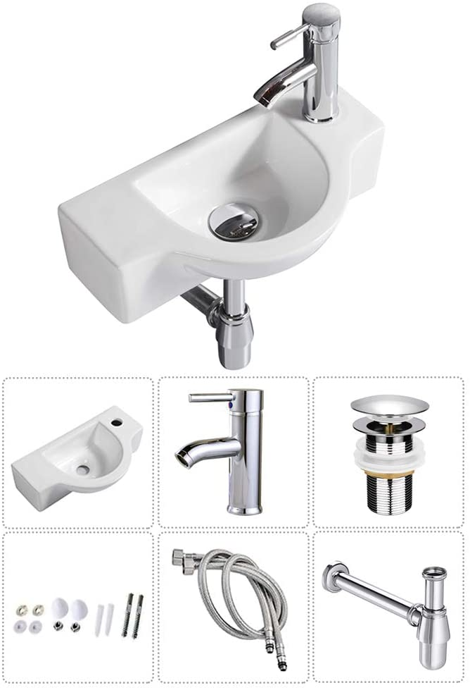 Buy Bathroom Ceramic Washbasin And Faucet Combo White Small Sink Wall Mount Sink Corner Sink Set Chrome Pop Up Drain Included Sink With Faucet Drain Online In Turkey B08cddw9cg